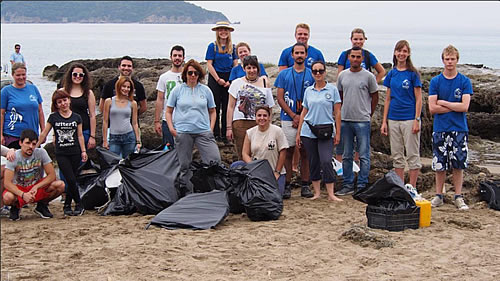 ARCHELON volunteers collected 8 large bags of rubbish from west Laganas beach clean